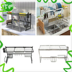 2 Tier Kitchen Stainless Steel Drain Rack Over Sink Cutlery Dish Drying Rack US $51.86