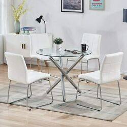 5 Pieces Round Dining Table Set Glass Top Dining Table with 4 Chairs PU Leather $499.69