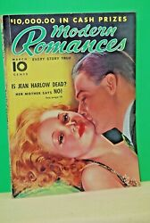 Vintage Modern Romances Magazine March 1938 Jean Harlow cover by Earl Christy $19.99