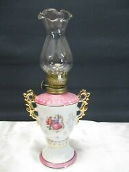 VINTAGE SMALL WHITE amp; PINK CERAMIC OIL LAMP WITH VICTORIAN COUPLE 9 5 8quot; TALL $5.99