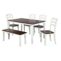 NEW 6PC Modern Rustic Ivory and Cherry Table 4 Chairs Bench Dining Room Set $699.98