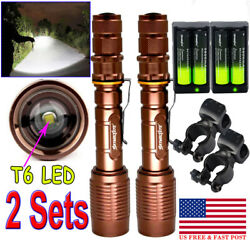 2x High Lumen Zoom LED Flashlight Rechargeable Battery Charger 360° Mount $29.29