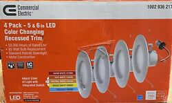 Commercial Electric 5 amp; 6 in. LED Color Changing Recessed Trim 4 Pack