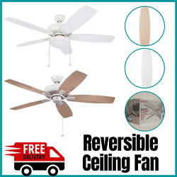 Reversible Outdoor Ceiling Fan Encased White Light with Frosted Cover 52 Inch