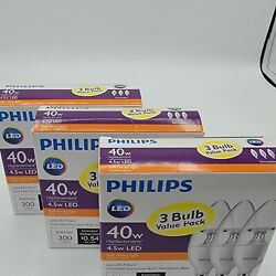 NEW PHILIPS 3 Pack 40W LEDDimmable Decorative Light Bulbs LOT OF THREE NEW