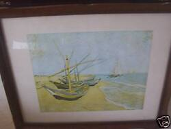 Vintage Print of Sail Boats on Beach Framed LOOK