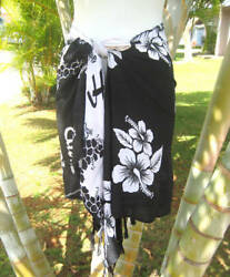 Hawaiian Beach Sarong Short Black White Hibiscus Pareo Luau Cruise Wrap Skirt $10.99
