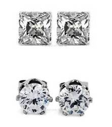 1 PAIR CZ CLEAR SQUAREROUND MAGNETIC Clip-On EARRINGS STUDS Men Women $4.99