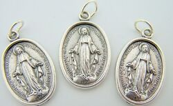 Catholic Medal Charm Pendant Lot3 Siver Plate Miraculous Medal Virgin Mary $8.99