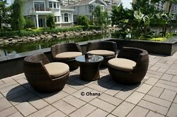 Beautiful  Patio Wicker Sofa Furniture 5pc All Weather Lounge Set