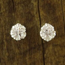 Hawaiian 925 Sterling Silver White Hibiscus Flowers Post Stud Zirconia