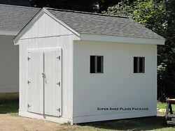 Custom Design Shed Plans 10x12 Medium Salbox Barn Building Plans Beginner CD