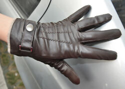 Men#x27;s Genuine Leather Winter Wrist Gloves Driving Gloves 3Lines Touch Screen $27.50