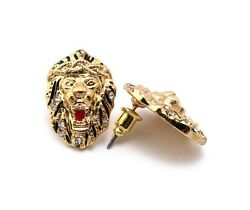 NEW CELEBRITY STYLE LION FACE POST METAL PIN PIERCED EARRING XE1094
