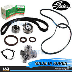 Gates HTD Timing Belt Kit V- Belt Water Pump for 2005-2010 Hyundai Kia 2.0L