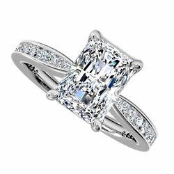 18kt I VS 2.40ct Radiant Cut Channel Set Diamond Engagement Ring Certified