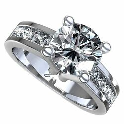 18kt GH SI 2.33ct Round Cut Channel Set Diamond Engagement Ring Certified