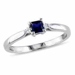 Sterling Silver Created Blue Sapphire and Diamond Solitare Ring G-H I2-I3