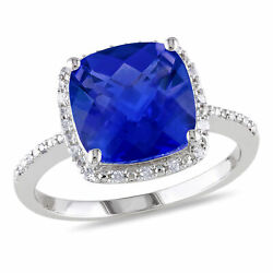 Sterling Silver Created Blue Sapphire and Diamond Ring 0.1 Ct G-H I2-I3
