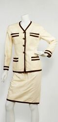 Vintage CHANEL Two Piece Suit Cream Brown Raw Silk Lobby Vtg CC Jacket Skirt
