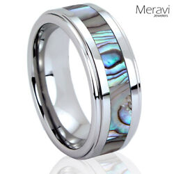 🔥 Abalone Shell Silver Tungsten Rings for Men Wedding Band Mens Rings for Women $13.95