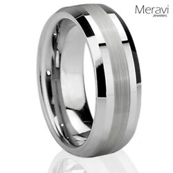 New Mens Rings Brushed Two Tone Silver Ring Tungsten Rings for Men Wedding Bands $13.95