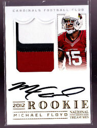 2012 National Treasures GOLD Michael Floyd 3 Clr Patch Auto Rc # to 49 RARE $99.95