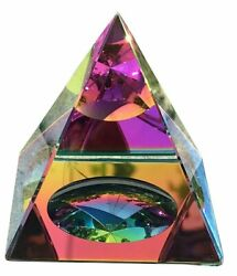 Crystal Iridescent Pyramid Rainbow Colors 2.3quot; with Gift Box $12.50