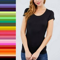 Women Scoop Neck Cotton Short Sleeve T-Shirt Soft Stretchy Basic Tee Top 8755