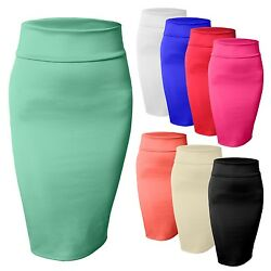 Women#x27;s High Waisted Fitted Stretch Bodycon Plain Midi Pencil Skirt NEWSK10 $10.99