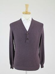 NWT. Brunello Cucinelli Men's Luxurious Purple 100% Cotton Sweater 5040 $830
