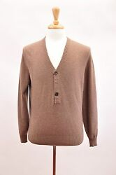 NWT. $1965 BRUNELLO CUCINELLI MEN'S CASHMERE SOFT BROWN SWEATER SIZE 50-40 US