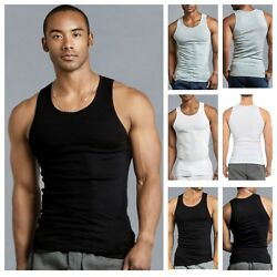 3 6 PACK Men Tank Top T Shirt Cotton A Shirt Wife Beater Ribbed GYM Undershirt $20.99