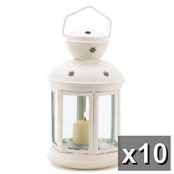 10 WHITE COLONIAL CANDLE LANTERNS WEDDING CENTERPIECES