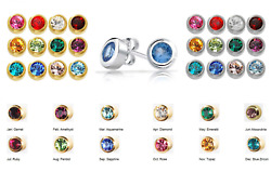 SURGICAL STAINLESS STEEL BIRTHSTONE EAR PIERCING STUD EARRINGS $4.98
