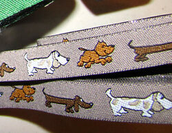 PRICED BY THE YARD Puppy Dog Dogs Pet Brown Woven Jacquard Ribbon Trim 5 8quot;W $2.50