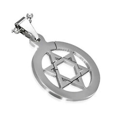 Stainless Steel Silver Tone Jewish Star of David Charm Pendant Necklace $12.99