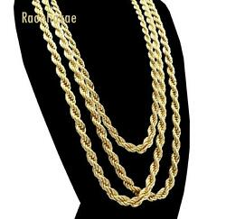 Men Stainless Steel 14k Gold Plated 3 to7mm wide 20quot; 24quot; 30quot; Rope Chain Necklace $14.48