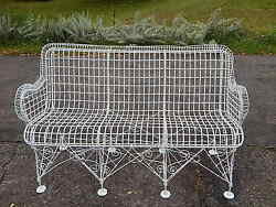 Antique Victorian Iron Metal Wire Patio Furniture Large Bench Settee Very Scarce