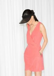& OTHER STORIES CORAL PEACH FOLD OVER WRAP V-NECK SUMMER DRESS 14 40! $37.52