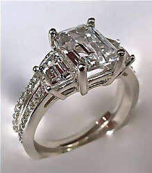 2.94Ct Radiant Cut Engagement Ring With Matching Band in 14K White Gold $1,375.00