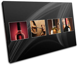 Wine Bottles Food Kitchen CANVAS WALL ART Picture Print VA $109.99