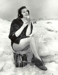 Org Vintage Large Risque Pinup Photo Model Mink Ear Muffs Legs Snow 1930 $24.95