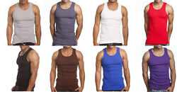 3 or 6 Pack Mens Tank Top 100% Cotton A-Shirt Lot Wife Beater Ribbed Undershirt $18.95