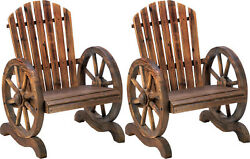 2 Fir Wood Adirondack Chairs With Wagon Wheel Arm Rests Perfect For Garden Patio