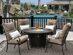 5PC FIRE TABLE CAST ALUMINUM TORTUGA OUTDOOR PATIO FURNITURE DINING SET FIRE PIT