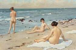 Summertime Beach Party With Bathing Women Ocean Art Real Canvas Print $13.49