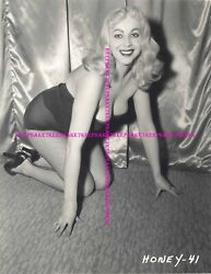 CLASSIC EXOTIC STRIPTEASE DANCER HONEY BAER LEGGY IN FISHNETS 8X10 PHOTO S-HB4 $7.00