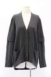 NWT$2595 Brunello Cucinelli Women 100% Cashmere Extended Silk Sleeved Cardigan M