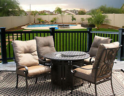 5 PC FIRE TABLE CAST ALUMINUM TORTUGA OUTDOOR PATIO FURNITURE DINING SET